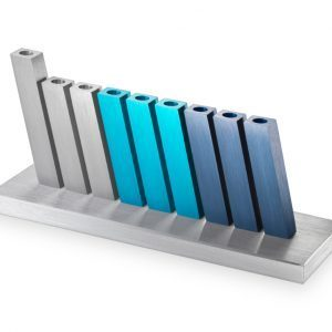 Kinetic Hanukkah Menorah – Silver/Grey/Turquoise