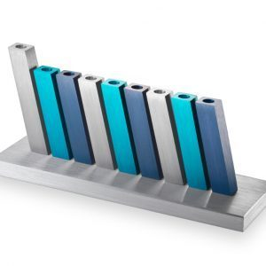 Kinetic Menorah – Israel Blue Silver