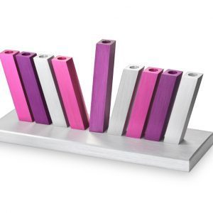 Kinetic Menorah – Silver/Purple/Pink